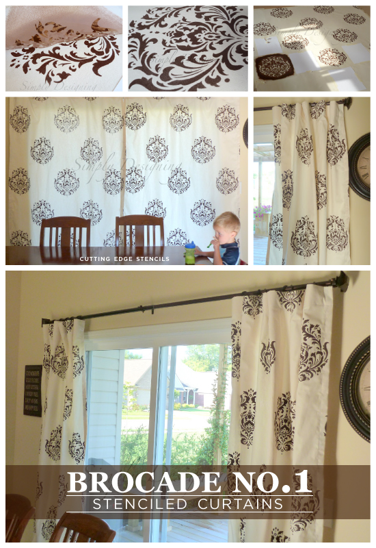 Beautiful! DIY curtains using the Brocade No.1 Stencil from Cutting Edge Stencils. http://www.cuttingedgestencils.com/Brocade-stencil-damask.html