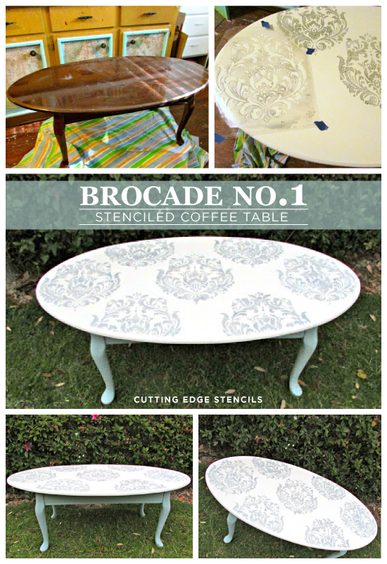 Gorgeous DIY Table redo using the Brocade No. 1 stencil from Cutting Edge Stencils. http://www.cuttingedgestencils.com/Brocade-stencil-damask.html