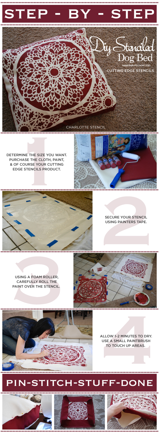 Using the Charlotte Stencil, learn how to paint and create your own dog bed. http://www.cuttingedgestencils.com/charlotte-allover-stencil-pattern.html