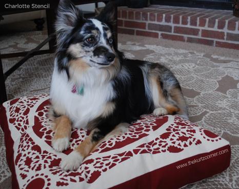 Adorable Charlotte Stenciled DIY dog bed! http://www.cuttingedgestencils.com/charlotte-allover-stencil-pattern.html