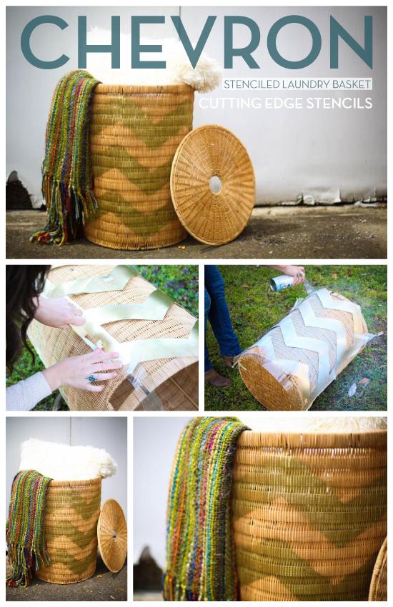 Adorable! A chevron stenciled diy laundry basket. http://www.cuttingedgestencils.com/chevron-stencil-pattern.html