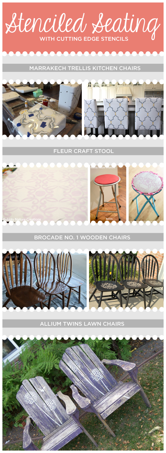 Use stencils from Cutting Edge Stencils to dress up your seating, stools, or lawn chairs! www.cuttingedgestencils.com
