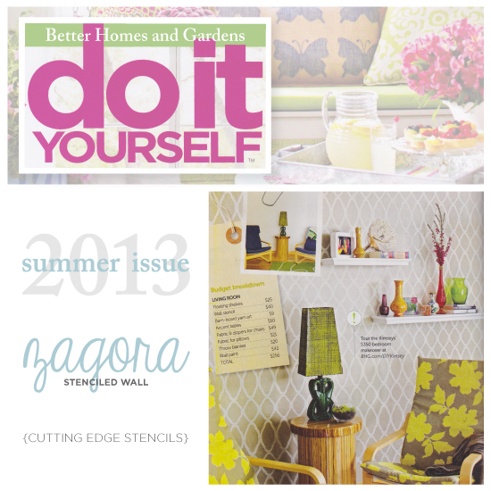 Do It Yourself Magazine features the Zagora Stencil from Cutting Edge Stencils. http://www.cuttingedgestencils.com/trellis-allover-stencil.html