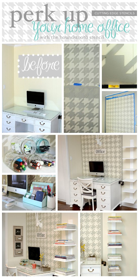 Using the Houndstooth Stencil from Cutting Edge Stencils in this gorgeous home office makeover! http://www.cuttingedgestencils.com/wall_stencil_houndstooth.html