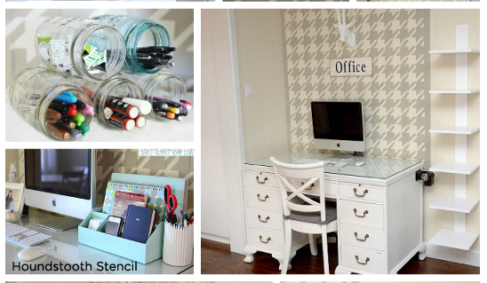 Stunning home office nook uses the Houndstooth Stencil from Cutting Edge Stencils. www.cuttingedgestencils.com