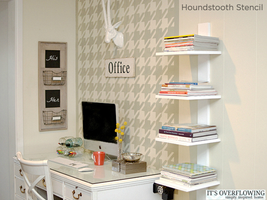 Gorgeous! Love the Houndstooth Stencil from Cutting Edge Stencils used in this gorgeous home office makeover! http://www.cuttingedgestencils.com/wall_stencil_houndstooth.html
