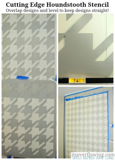 See how the Houndstooth Stencil from Cutting Edge Stencils transforms this home office. http://www.cuttingedgestencils.com/wall_stencil_houndstooth.html