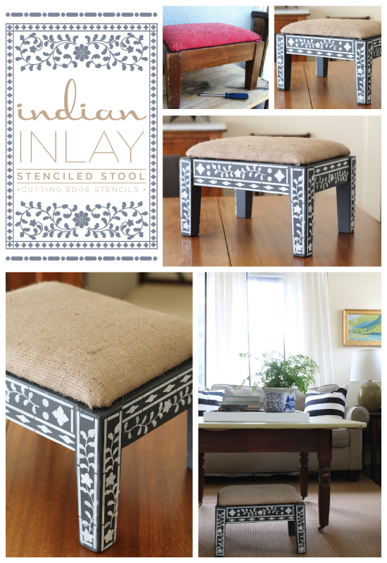 Adorable Indian Inlay Stenciled step stool!  So easy to make and it's stunning. http://www.cuttingedgestencils.com/indian-inlay-stencil-furniture.html