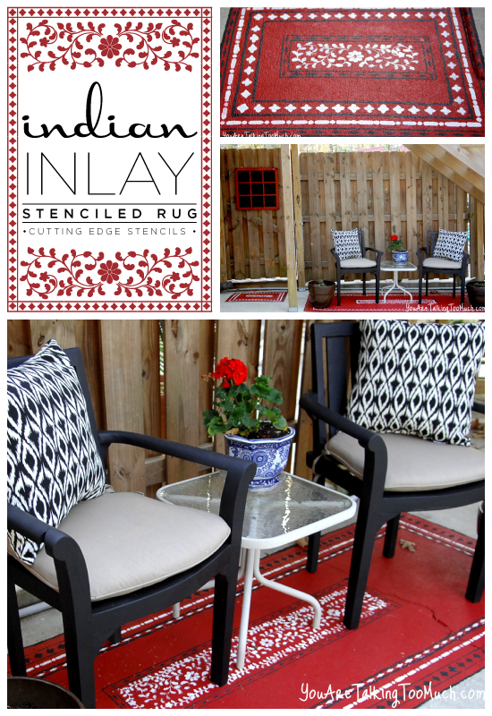 Indian Inlay Stencil used to create a gorgeous red outdoor rug!  http://www.cuttingedgestencils.com/indian-inlay-stencil-furniture.html
