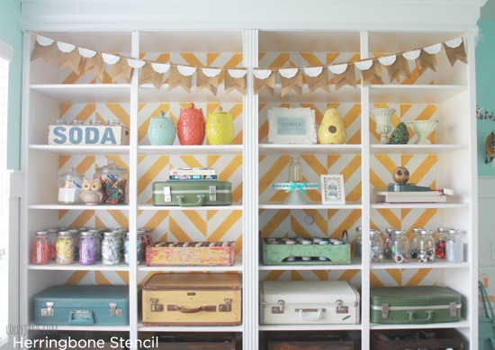 Cutting Edge Stencils Herringbone pattern was used to create this diy bookcase for a Craft Room. http://www.cuttingedgestencils.com/herringbone-stencil-pattern.html