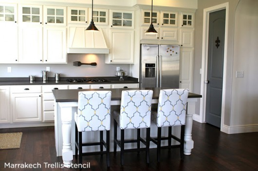 Gorgeous! Marrakech Trellis Stenciled chairs add a patterned flair to this kitchen. http://www.cuttingedgestencils.com/moroccan-stencil-marrakech.html