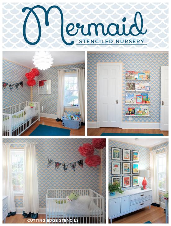 Love the coloful little boys room using the Mermaid Stencil by Cutting Edge Stencils. http://www.cuttingedgestencils.com/pattern-stencil-walls.html
