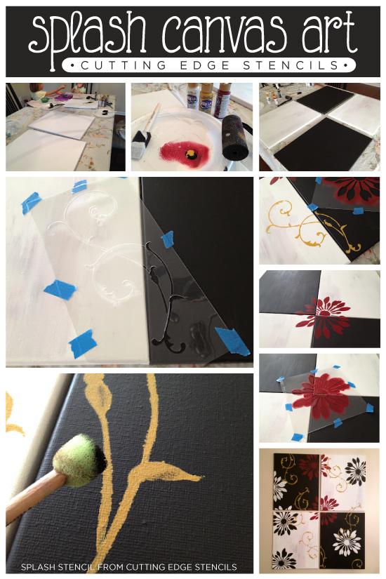 Using the Splash Pattern Wall Stencil Kit create stunning canvas wall art for a dining room. http://www.cuttingedgestencils.com/wallpaper-stencil-kits.html