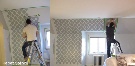 Stenciling is Easy! Stunning Rabat Stenciled gray master bedroom. http://www.cuttingedgestencils.com/moroccan-stencil-pattern-3.html