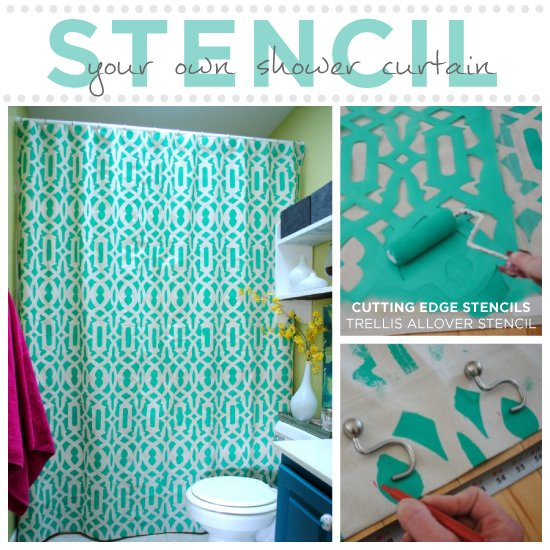 Use the Trellis Allover Stencil from Cutting Edge Stencils to create your own shower curtain! http://www.cuttingedgestencils.com/allover-stencil.html