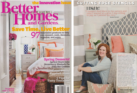 Gorgeous Zagora Stenciled headboard featuring in the May issue of Better Homes & Gardens. http://www.cuttingedgestencils.com/trellis-allover-stencil.html