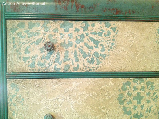 Use the Antico Stencil to give a dresser a vintage chic look! www.cuttingedgestencils.com