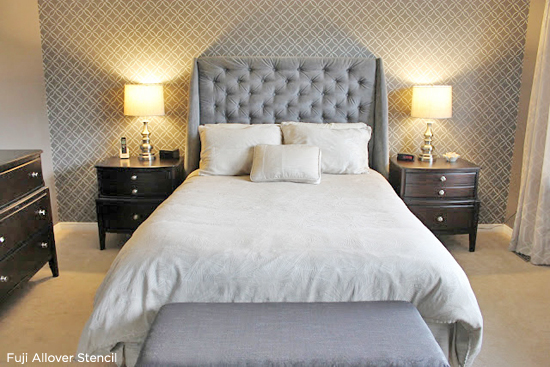 The Fuji Allover Stencil is the perfect geometric design for this Master Bedroom accent wall! http://www.cuttingedgestencils.com/stencil-wall-stencils-fuji.html