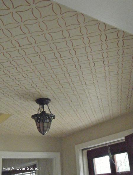 Add a geometic stencil design to your ceiling using the Fuji Stencil from Cutting Edge Stencils! http://www.cuttingedgestencils.com/stencil-wall-stencils-fuji.html