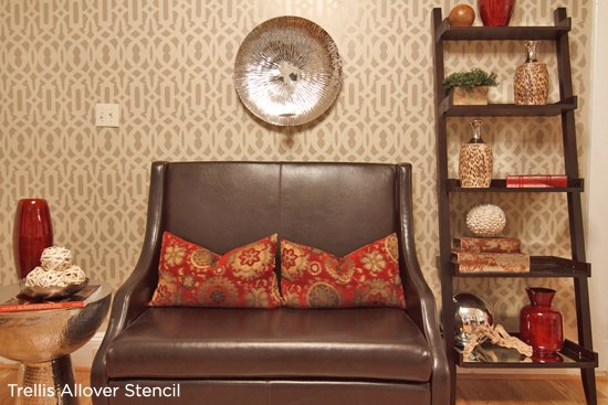 Beautify your space with an accent wall using the Trellis Allover Stencil from Cutting Edge Stencils! http://www.cuttingedgestencils.com/allover-stencil.html