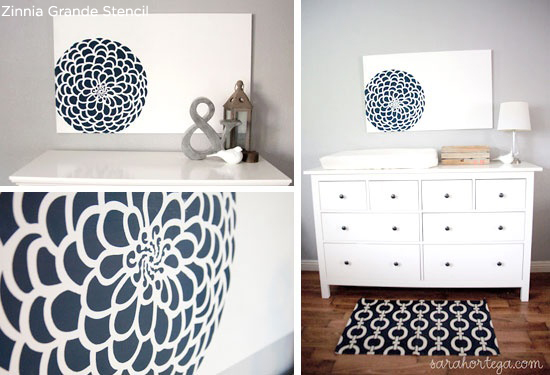 The Zinnia Grande Wall stencil is the perfect way to see if you like having the floral look in your home! http://www.cuttingedgestencils.com/flower-stencil-zinnia-wall.html