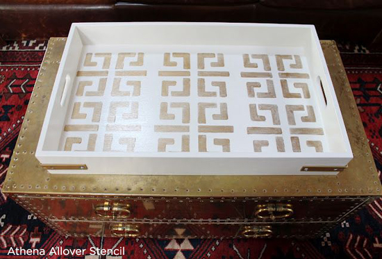 Stencils can spruce up an old try like this Athena Stenciled diy decorative tray. http://www.cuttingedgestencils.com/wallpaper-stencil-athena.html