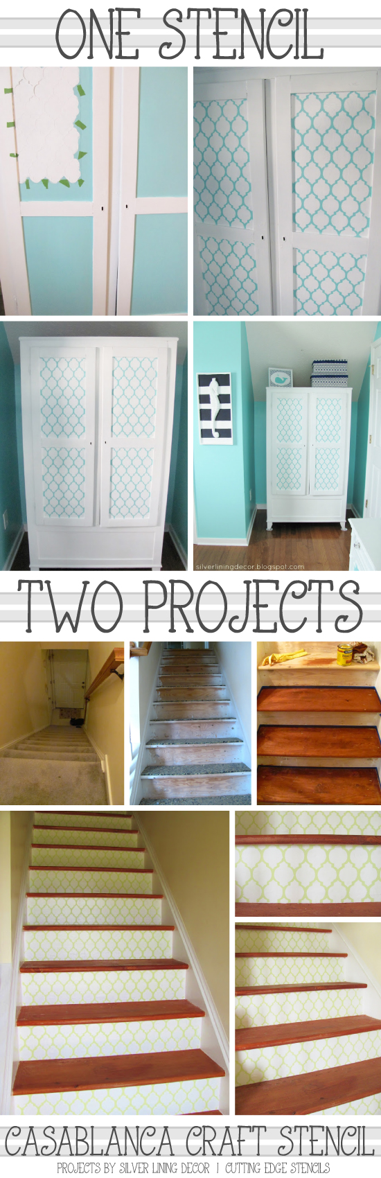 See how you can use one reusable casablanca craft stencil for many projects in your home! http://www.cuttingedgestencils.com/craft-furniture-stencil.html