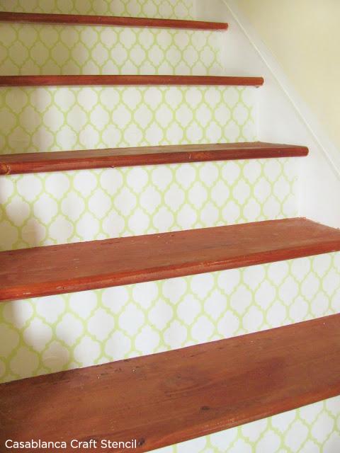 Use the Casablanca Craft Stencil to add a subtle design to your stair risers! http://www.cuttingedgestencils.com/craft-furniture-stencil.html