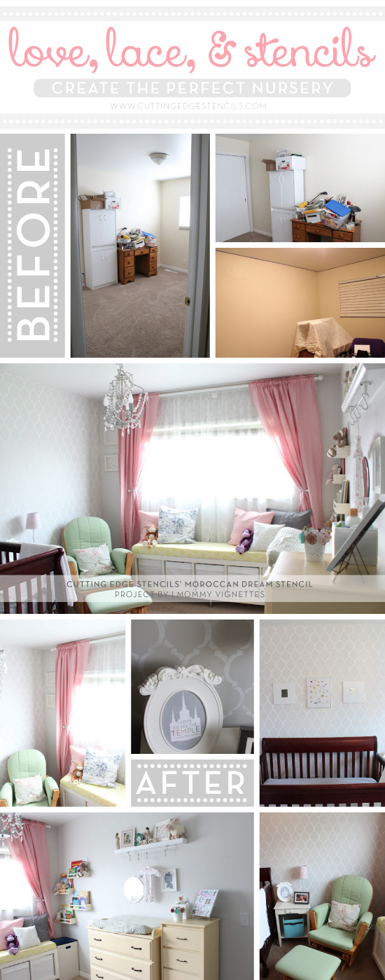 Sweetest Moroccan Dream stenciled gray and pink nursery design! http://www.cuttingedgestencils.com/moroccan-stencils.html