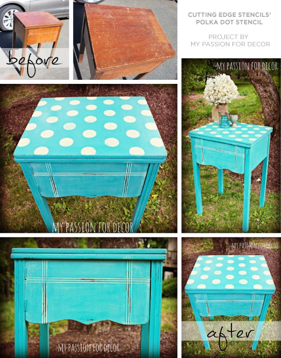 Use the polka dot stencil to upcyle an old sewing table into a end table! www.cuttingedgestencils.com