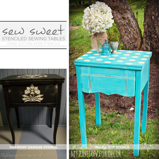 Paint and Stencil an old sewing table to give it new life! The Harmony Damask Stencil and the Polka Dot Stencil were used on these gorgeous examples! www.cuttingedgestencils.com