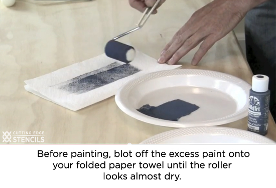 Too much paint will cause the design to bleed and smudge.http://www.cuttingedgestencils.com/how-to-stencil-videos.html