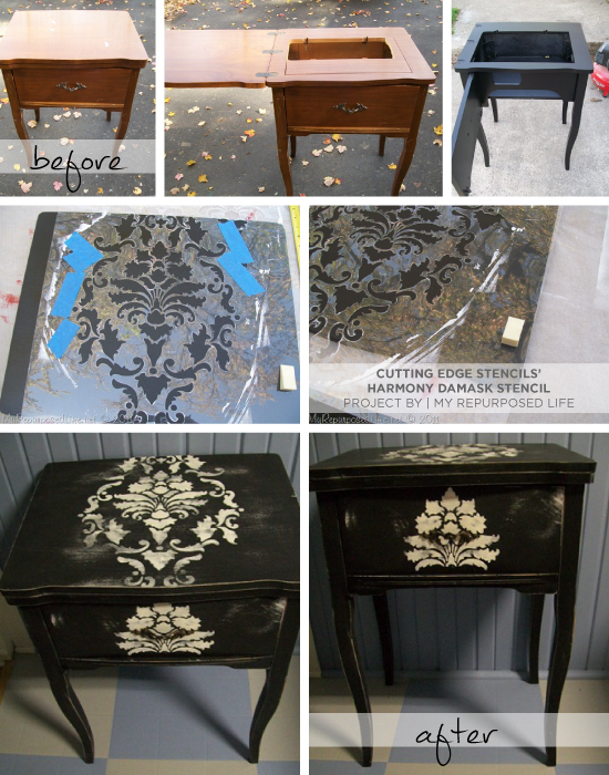 Use the Harmony Damask Stencil to upcycle an old sewing table and give it designer appeal! www.cuttingedgestencils.com
