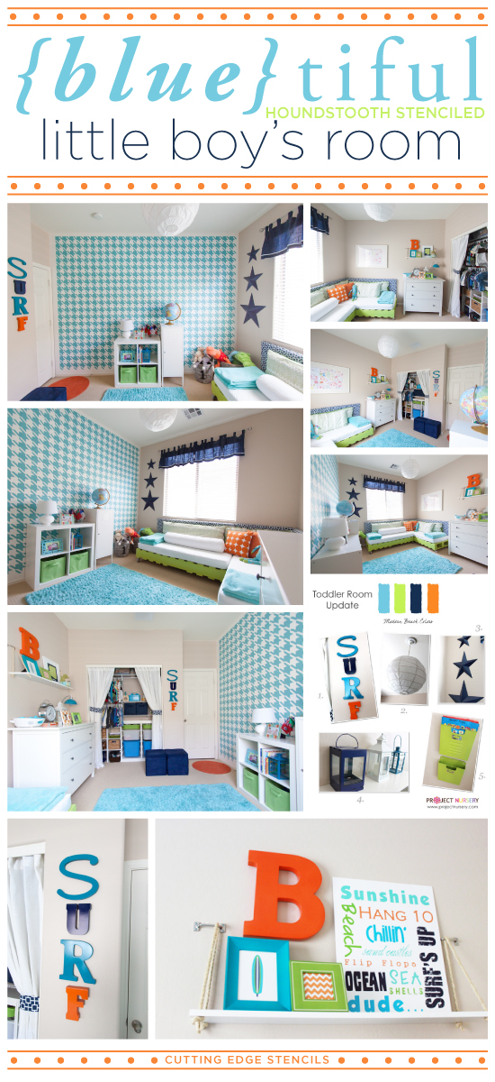 Blue Tiful Houndstooth Stenciled Little Boys Room