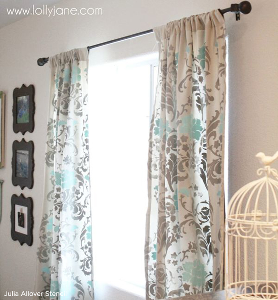 Floral curtains are a hot home decor trend. Use the Julia Allover Stencil to get this look. www.cuttingedgestencils.com