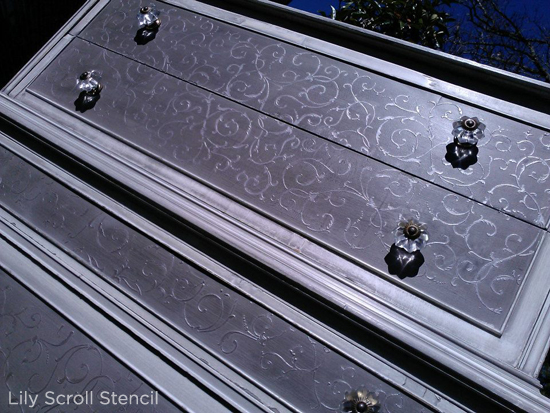 The lily scroll stencil gives this diy dresser a vintage chic appeal! www.cuttingedgestencils.com