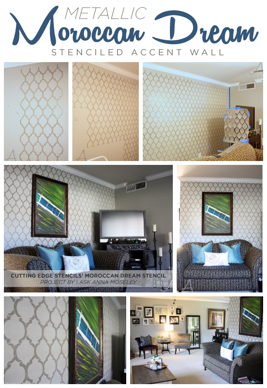 Use the Moroccan Dream stencil from Cutting Edge Stencils on an accent wall in a mettalic paint to get this stunning look! http://www.cuttingedgestencils.com/moroccan-stencil-design.html