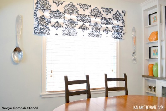 Learn how to stencil no sew roman shades using the nadya damask stencil learn how to stencil your own no sew roman shades using the nadya damask stencil solutioingenieria Image collections
