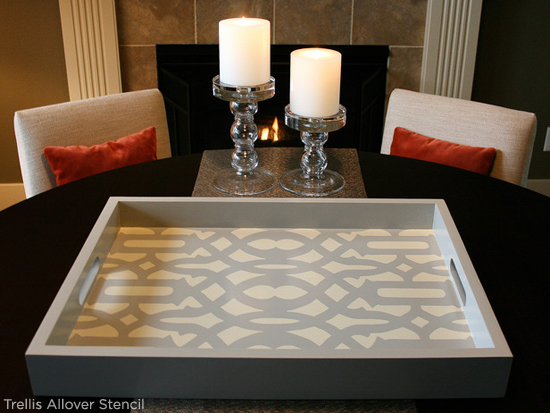 Trellis Allover Stencil from Cutting Edge Stencils was used to craft this diy wooden tray! An easy diy project. http://www.cuttingedgestencils.com/allover-stencil.html