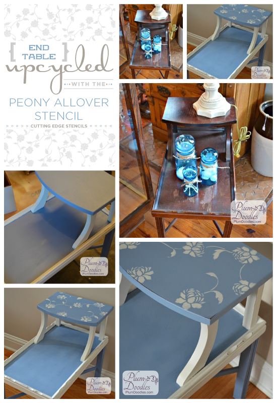 Upcycle an old end table using the Peony Stencil from Cutting Edge Stencils. http://www.cuttingedgestencils.com/flower-stencil-damask.html