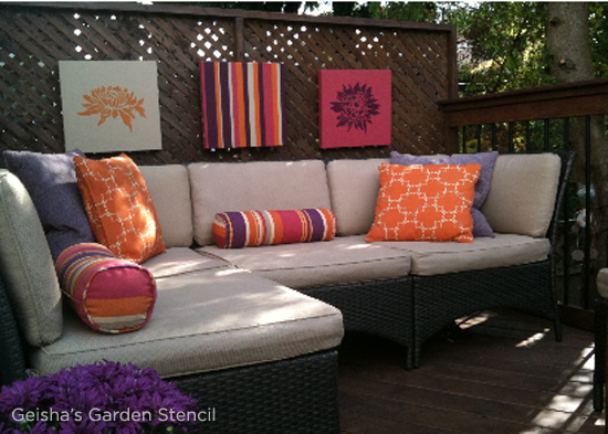 outdoor canvas art. Stenciled Wall Art Looks Great In Any Outdoor Space! Use The Geisha\u0027s Garden Pattern Canvas