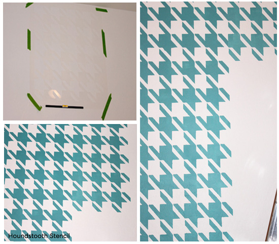 Stenciling the Houndstooth Stencil by Cutting Edge Stencils in a fun blue pattern for a kids bedroom. http://www.cuttingedgestencils.com/wall_stencil_houndstooth.html