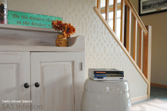 Subtle and Stunning! This Trellis Allover Stenciled accent wall is the same color in two different sheens and makes quite the impact. http://www.cuttingedgestencils.com/allover-stencil.html
