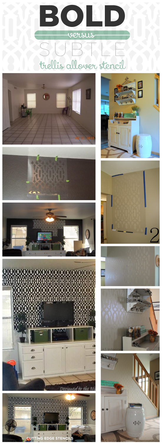 The Trellis Allover Stencil can make either bold or subtle statement in any space depending on the color! http://www.cuttingedgestencils.com/allover-stencil.html