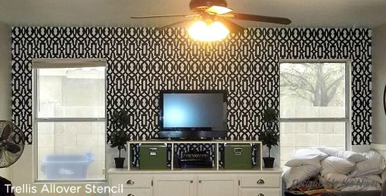 Bold and Beautiful! This Trellis Allover Stenciled accent wall makes quite the impact on the space. http://www.cuttingedgestencils.com/allover-stencil.html