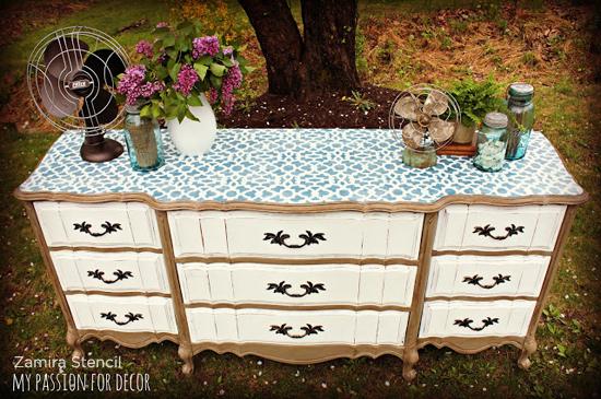Zamira stenciled diy dresser looks like an vintage chic piece of furniture. www.cuttingedgestencils.com