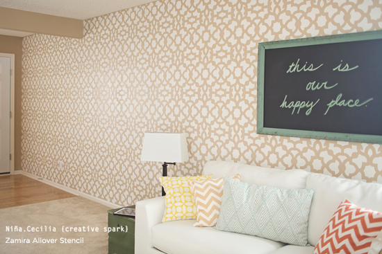Nice Stunning Zamira Stenciled Accent Wall In This Living Room Was Painted By  Nina.Ceclia CreativeSpark