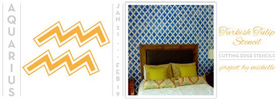The Turkish Tulip Stencil makes for a stunning feature wall in this bedroom! http://www.cuttingedgestencils.com/moroccan-stencil-tulip.html