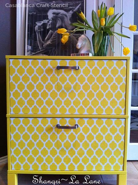 Stencil a piece of a bright sunny yellow using our Casablanca Craft Stencil! http://www.cuttingedgestencils.com/craft-furniture-stencil.html