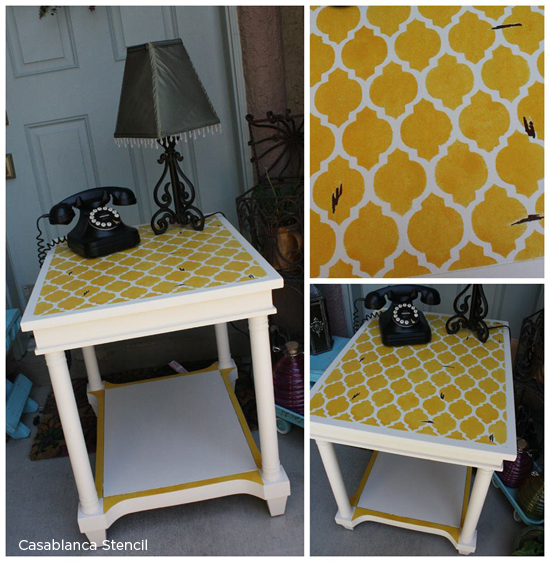 Upcycle an old table using the Casablanca Stencil from Cutting Edge Stencils! http://www.cuttingedgestencils.com/allover-stencils.html